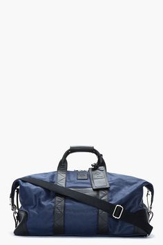 MCQ ALEXANDER MCQUEEN Large Navy Waxed Canvas Weekender Duffle Bag