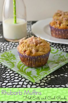 Love this recipe for using up rhubarb! Cinnamon and Sugar Topped Rhubarb Muffins from Hot Eats and Cool Reads!
