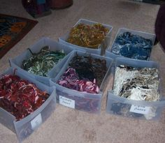 storage drawers for leftover worms - color sorted