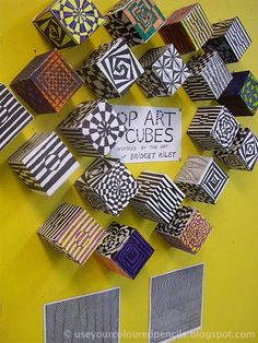 inspired by English Op Artist Bridget Riley (1931-) Op Art Cubes From blog: Use Your Coloured Pencils Más
