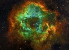 The Rosette Nebula, taken on September 9, 2014. A 5 hour exposure, using an Epsilon 180 ED telescope, with filters of 3nm Astrodon combining Hydrogen-alpha, Oxygen and Sulfur II. Credit and copyright: César Cantú.