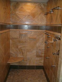Stone walk-in shower by www.facebook.com/...