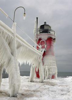 winter, lake michigan, lighthouses, ice, frozen lighthous, great lakes, thoma zakowski, place, photographi