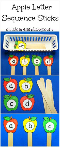 Apple Letter Sequence Sticks (from Childcareland)