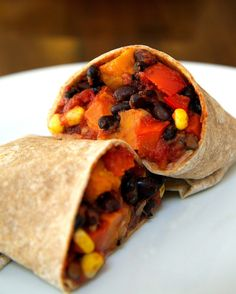 Roasted sweet potatoes swirling with tender black beans and corn, succulent red peppers, and juicy tomatoes wrapped in a warm whole-wheat tortilla make this one delicious and gratifying meal.