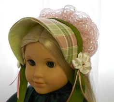American Girl Doll Clothes - Doll Hat - Dress Bonnet in Green and Rose