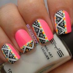 Aztec nails. Tribal. Nails. Fashion. Nail Art. Nails Art. Nail Polish. Nail Design. Style. Pink.