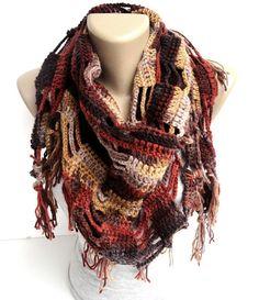fall color scarf ,shawl ,neckwarmer ,women scarves ,crocheted shawl scarf ,gift ideas on Etsy, $35.00