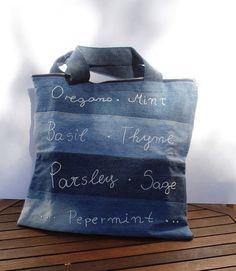Repurposed denim tote bag shopper - like the striping with different denim idea