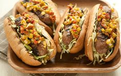 Sausage with Pickle Pepper Relish // A classic combo improved dramatically by taking just a few minutes to mix up your own homemade relish--to which you can add chopped hot peppers for a kick, if you like.