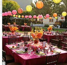 girl parti, lantern decor, color, paper lantern, orange party, papers, lanterns, parti idea, graduation parties