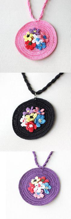 Crochet Necklace with Turkish Crochet oya