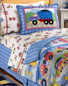 Kids Train, Plane and Truck Bedding