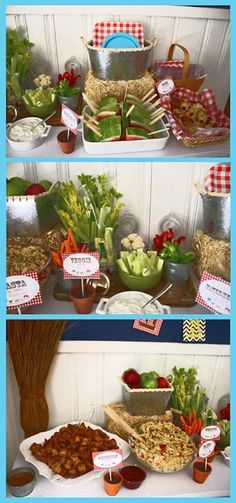 "Gah! So cute!! Rustic backyard barnyard first birthday party veggie food, but consider a ""cowboy"" theme for the future. Yeehaw!"