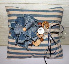 Wedding Ring Pillow - Rustic Chic - Denim - Beach Cottage - Blue - Repurposed - Vintage - Stripes on Etsy, $38.00