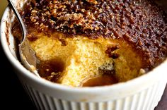 Recipe: Baked Tapioca Pudding With Cinnamon Sugar Brûlée || Photo: Andrew Scrivani for The New York Times peppers, cinnamon sugar, puddings, custards, butterscotch custard, monkey food, black, dessert, tapioca pud