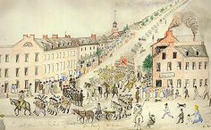 In this sketch by artist Lewis Miller, citizens of York line the street as Confederate soldiers march from the west into York's Center...