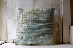 hand dyed vintage fish net cushion