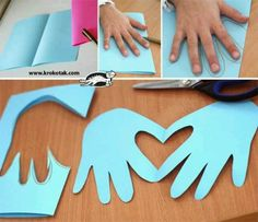 Handprint-Heart craft (no link, but pic is helpful :) ) valentine day ideas, valentine crafts, valentine day crafts, valentine day cards, hand print, valentine cards, kid crafts, card crafts, heart cards
