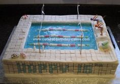 Homemade Swimming Pool Cake: I made this swimming pool cake for our twin nieces who are competitive club swimmers and represent their area in the country.  Its made of 3 8 square cakes,