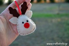 Felt reindeer, felt ornament, Christmas decoration
