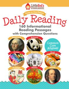 Informational Reading Passages with Comprehension Questions - 160 passages with questions - will last the entire school year - includes the following packets - Americana, Animals, Amazing People, A World of Color, Wonders and Mysteries, World Holidays, Fantastic Food, Science and Nature. $