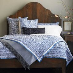 #InspiredGreenLiving - Block Print Bedding. Feather-soft & made from pesticide-free cotton and natural indigo dyes is so rare it qualifies as a collector's item (today, almost all indigo is synthetic). A cooperative of 50 artisans in remote northwest India hand-makes our collection. Drawing inspiration from local mandanas, decorative wall art inspired by the region's flora and fauna, the craftsmen and women fashion the bedding's border pattern to resemble linked old coins.