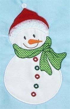 Happy Snowman Machine Embroidery Applique Designs