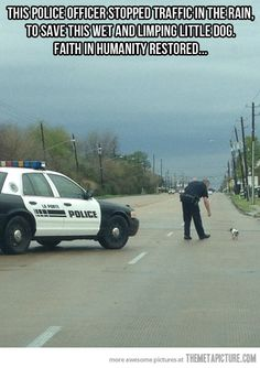 La Porte, Texas, policeman rescues a little dog, what looks to be a Rat Terrier. Heartwarming!