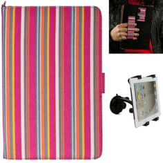(Candy Colorful Stripes) Dauphine Edition Protective Book-Style Canvas Carrying Case for Visual Land Prestige 7L Android Tablet + Universal Adjustable Windshield Mount for 7-10 inch Tablets VG,http://www.amazon.com/dp/B0085PH29O/ref=cm_sw_r_pi_dp_hSbftb0XSQ8BMTS6