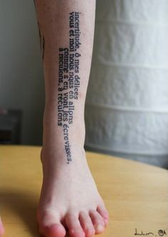 shin text tattoo