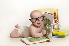 Baby boy glasses and books. Such a cute little nerd!