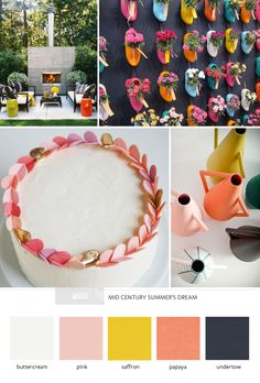 Mid-century inspiration // buttercream, pink, saffron, papaya and undertow