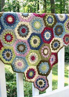 crochet hexagon throw