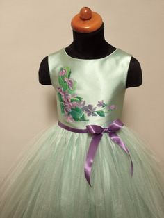 VIOLETS hand painted dress for Flower Girl hand by MissCrinolline mint dress with violet ribbon