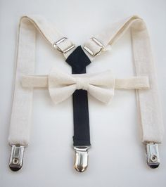 bow tie and suspenders for toddler boy  cream with by golubchick, $35.00