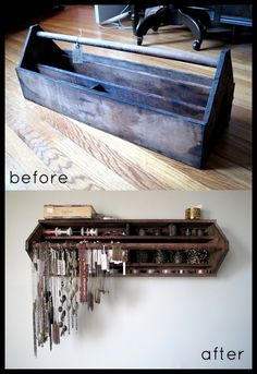 old tool box into jewelery or more organizer
