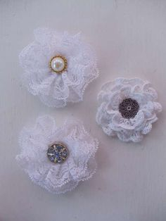 Lace flowers ~I saw a tutorial on how to make flowers like these on YouTube.
