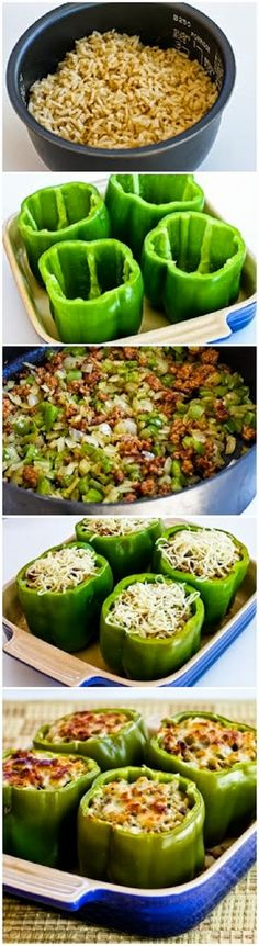 Stuffed Green Peppers with Brown Rice