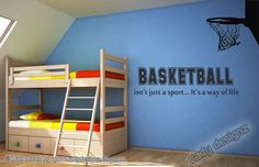 I have this for my kids room when I finish painting!!    Basketball Vinyl Wall Decal -Hoop- Sports - Boys Room Decor - Vinyl Wall Decal Quote - Wall Art - Vinyl Wall Sticker Lettering - 32 x 9. $32.99, via Etsy.   boys room???