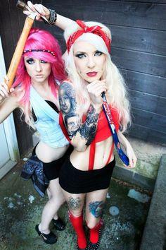 #piercing #tattoo #bff #bodymodification #blonde #pinkhair #inkedgirls #pinup www.bodycandy.com