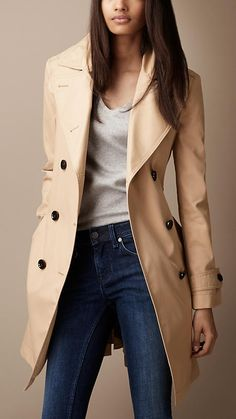 A different spin on the classic Burberry trench: no belt.