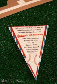 Baseball party ~ Felt pennant Vintage Baseball invite