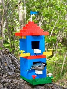 #LEGO two story bird house made by an 8-year-old.  Lego's in nature, cool!