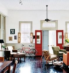 Living room that looks like part of a converted school.