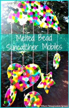 """DIY Melted Bead Suncatcher Mobile craft for kids from Where Imagination Grows. She has a """"trick"""" for avoiding that awful melted plastic smell in your house!"""