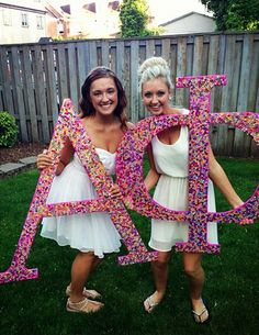 Alpha Phi Initiation #AlphaPhi #APhi #initiation #letters #bedazzled #sorority