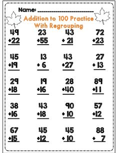 Addition to 100 practice with regrouping for 2nd grade part of 60 page math and ela packet for fall
