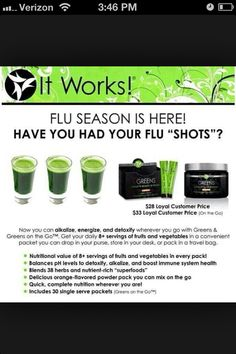 Get your Greens here www.itworksforcarren.myitworks.com (Prices are $30 for a tub, $35 for greens on the go -- Loyal Customer price)