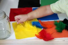 Simple sorting with felt and feathers